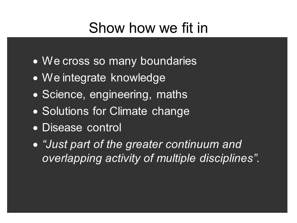 Show how we fit in We cross so many boundaries We integrate knowledge Science, engineering, maths Solutions for Climate change Disease control Just pa