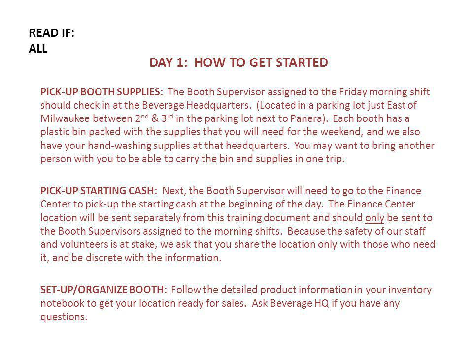 READ IF: ALL DAY 1: HOW TO GET STARTED PICK-UP BOOTH SUPPLIES: The Booth Supervisor assigned to the Friday morning shift should check in at the Beverage Headquarters.
