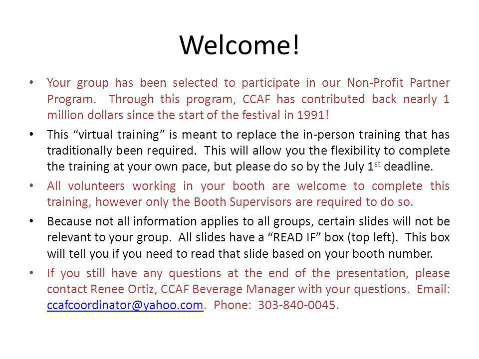 Welcome. Your group has been selected to participate in our Non-Profit Partner Program.