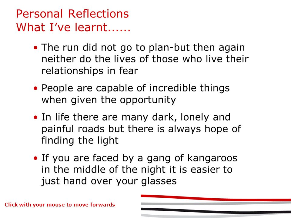 Personal Reflections What Ive learnt......