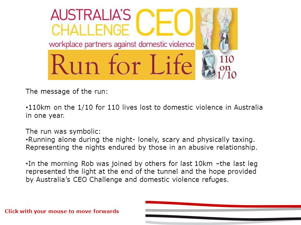 The message of the run: 110km on the 1/10 for 110 lives lost to domestic violence in Australia in one year.
