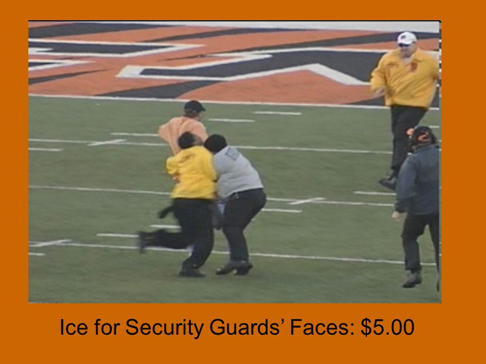 Ice for Security Guards Faces: $5.00