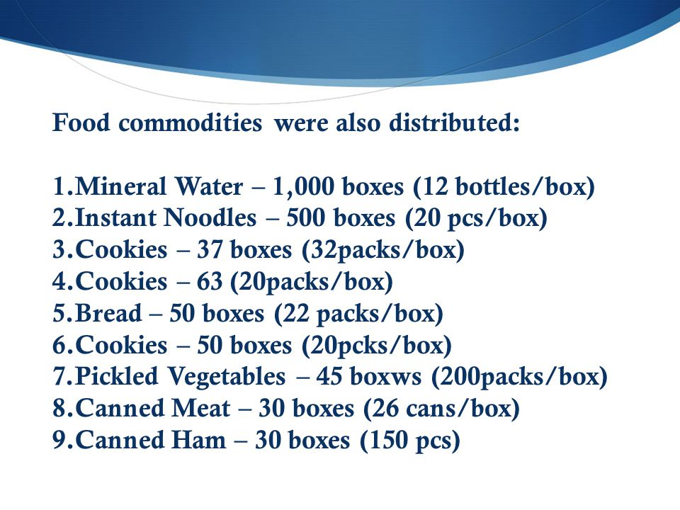 Food commodities were also distributed: 1.Mineral Water – 1,000 boxes (12 bottles/box) 2.Instant Noodles – 500 boxes (20 pcs/box) 3.Cookies – 37 boxes