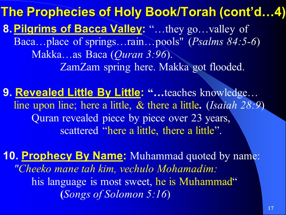 16 The Prophecies of Holy Book/Torah (contd…3) 5.