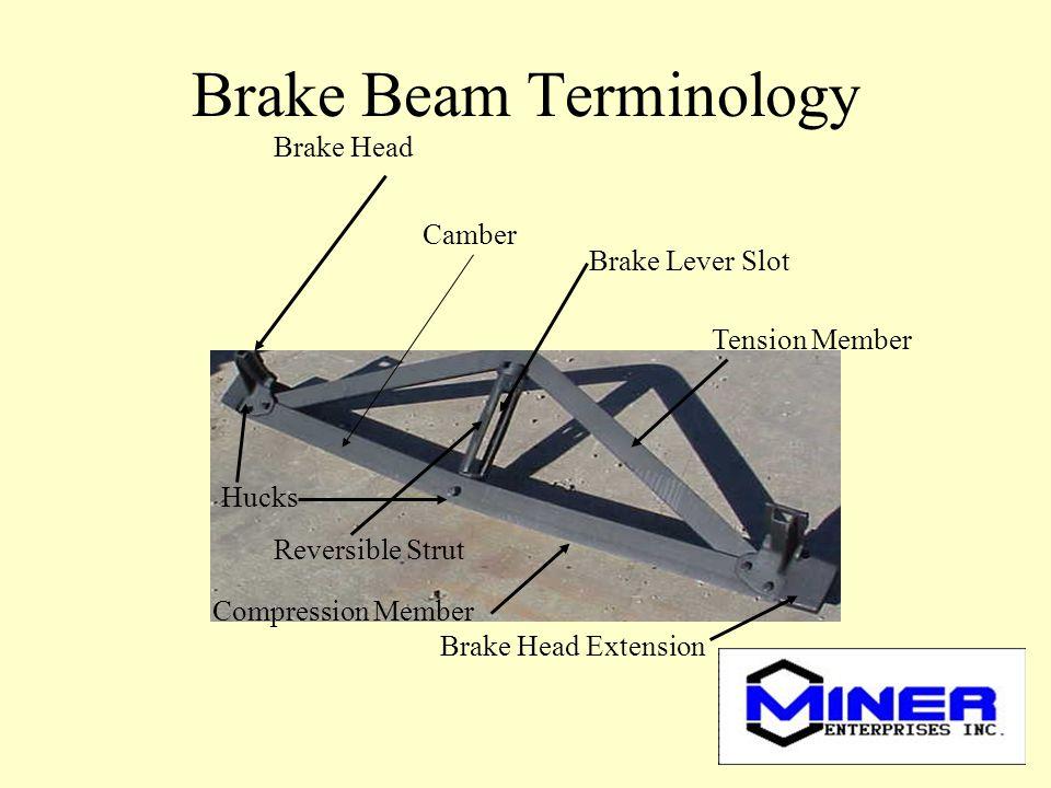 Brake Beam Terminology Brake Head Camber Hucks Reversible Strut Compression Member Brake Head Extension Brake Lever Slot Tension Member