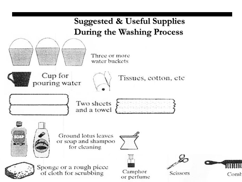 Suggested & Useful Supplies During the Washing Process