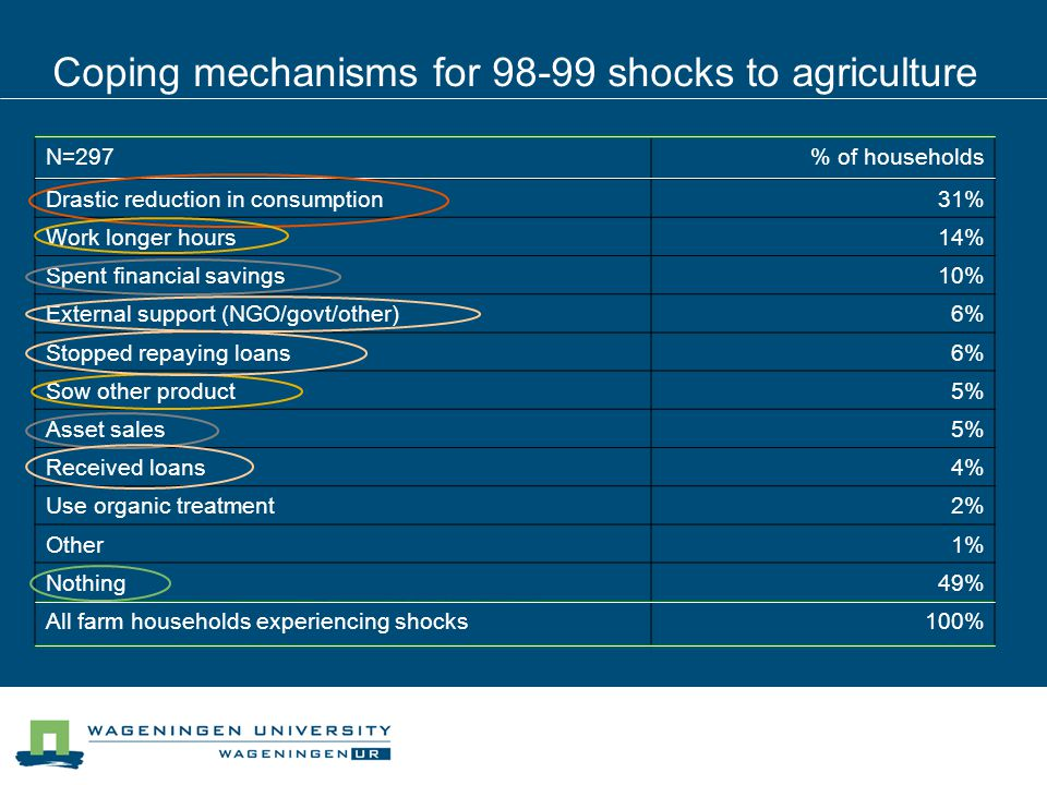 Coping mechanisms for 98-99 shocks to agriculture N=297% of households Drastic reduction in consumption31% Work longer hours14% Spent financial savings10% External support (NGO/govt/other)6% Stopped repaying loans6% Sow other product5% Asset sales5% Received loans4% Use organic treatment2% Other1% Nothing49% All farm households experiencing shocks100% Note: a Up two three answers allowed.
