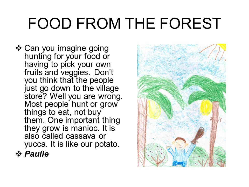 FOOD FROM THE FOREST Can you imagine going hunting for your food or having to pick your own fruits and veggies.