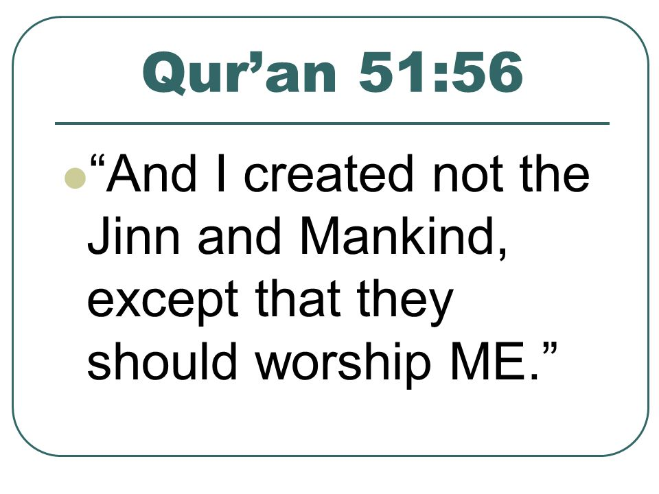 Quran 51:56 And I created not the Jinn and Mankind, except that they should worship ME.