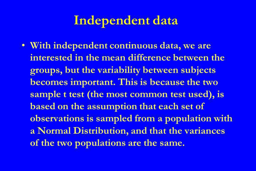 Independent data With independent continuous data, we are interested in the mean difference between the groups, but the variability between subjects becomes important.