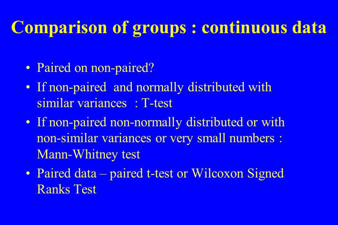 Comparison of groups : continuous data Paired on non-paired.