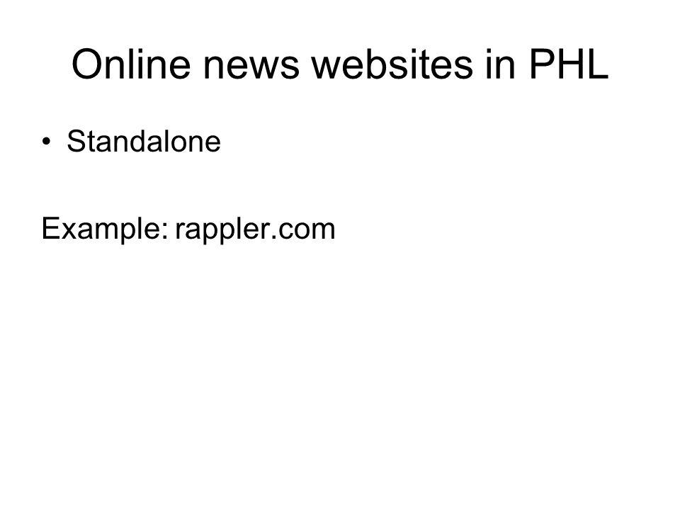 Online news websites in PHL Standalone Example: rappler.com