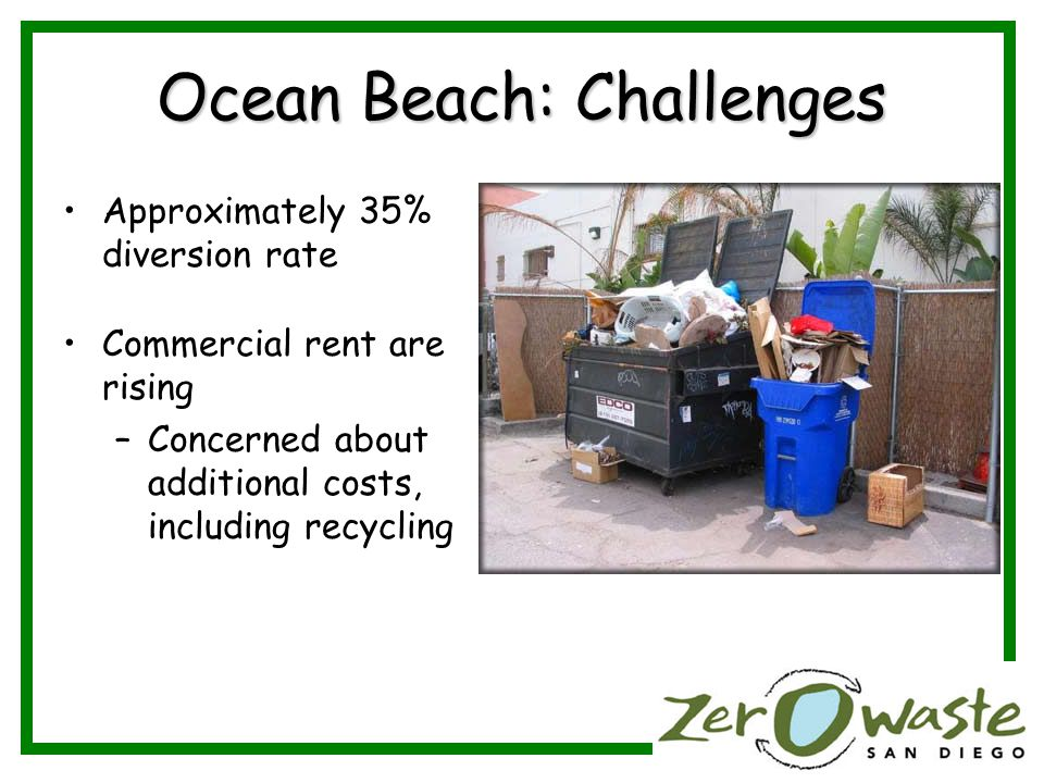 Ocean Beach: Challenges Approximately 35% diversion rate Commercial rent are rising –Concerned about additional costs, including recycling