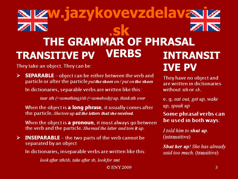© ENY THE GRAMMAR OF PHRASAL VERBS INTRANSIT IVE PV They have no object and are written in dictionaries without s th or sb.