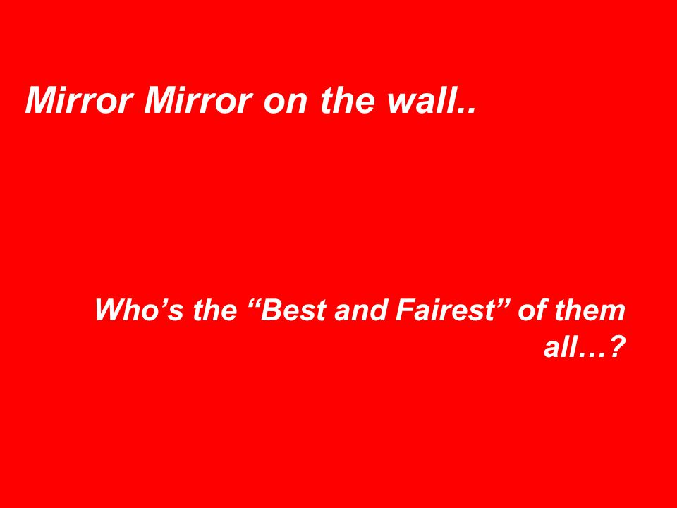 Mirror Mirror on the wall.. Whos the Best and Fairest of them all…