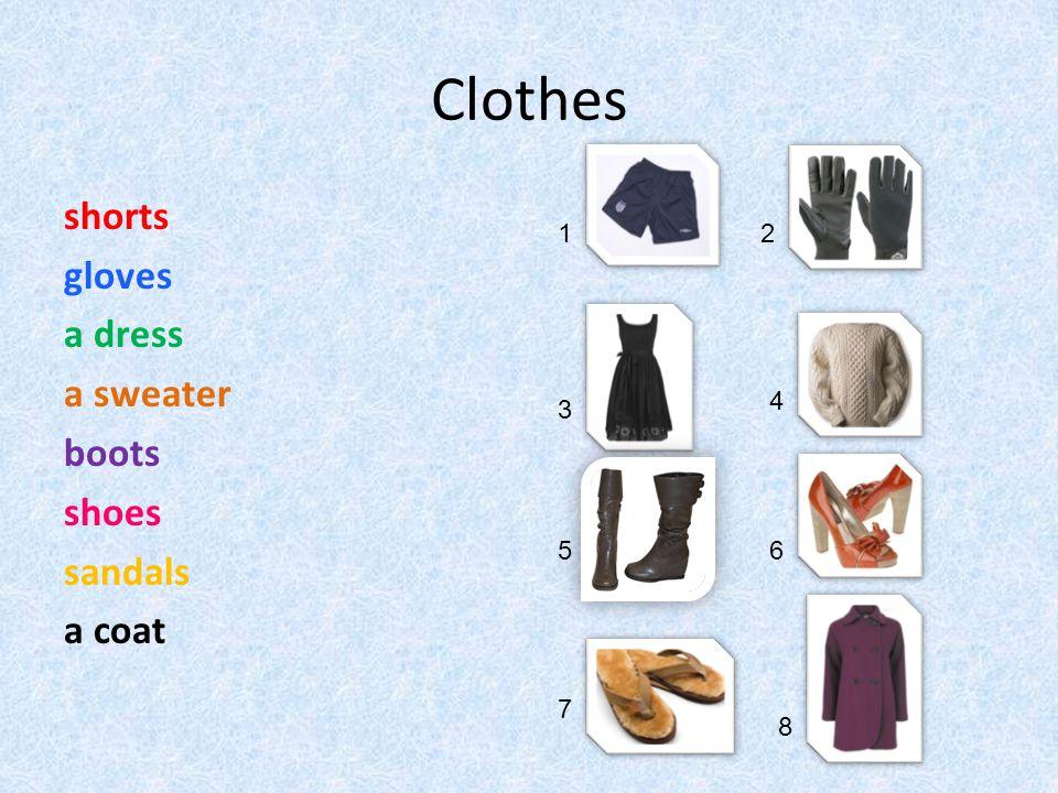 Clothes shorts gloves a dress a sweater boots shoes sandals a coat 12 3 4 56 7 8
