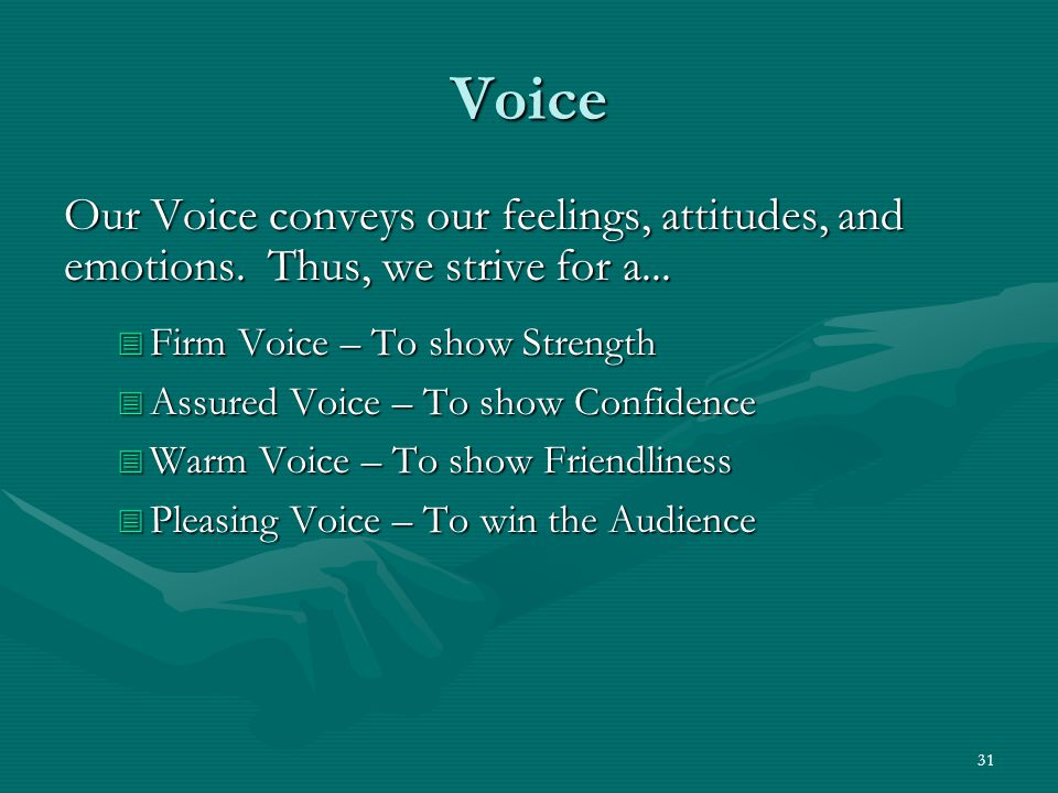 31 Voice Our Voice conveys our feelings, attitudes, and emotions.