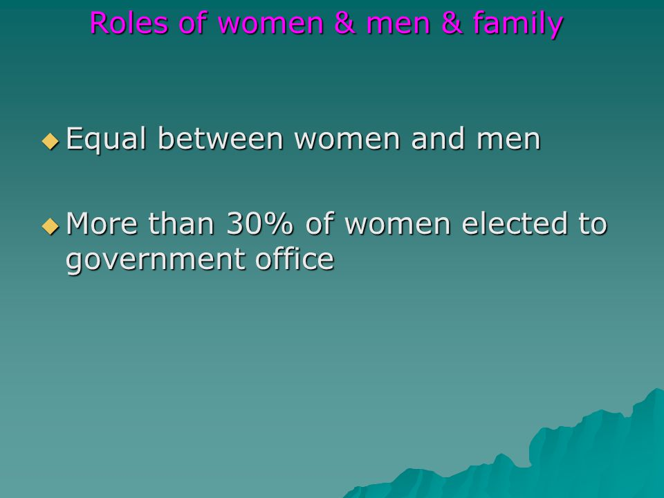 Equal between women and men Equal between women and men More than 30% of women elected to government office More than 30% of women elected to government office Roles of women & men & family