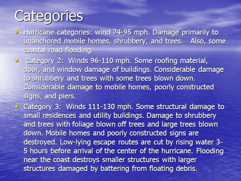 Categories Hurricane categories: wind 74-95 mph.