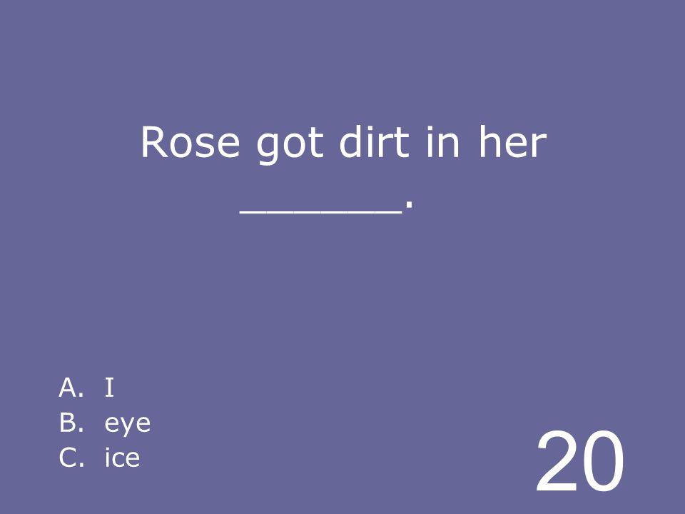 20 Rose got dirt in her ______. A.I B.eye C.ice