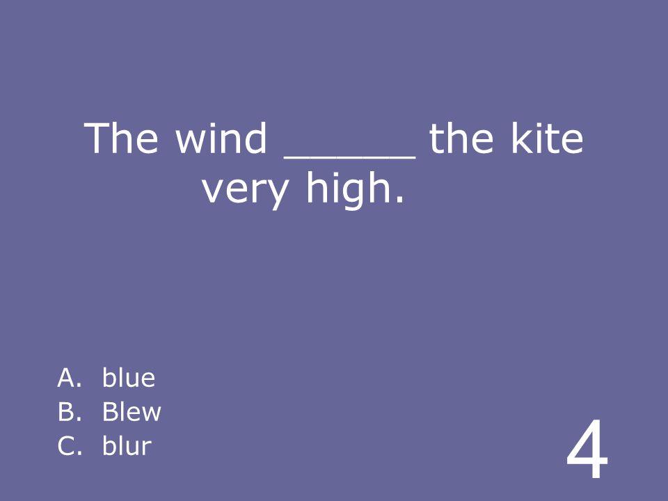 4 The wind _____ the kite very high. A.blue B.Blew C.blur