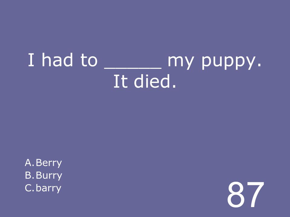 87 I had to _____ my puppy. It died. A.Berry B.Burry C.barry