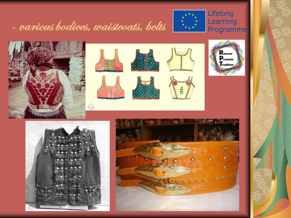 - various bodices, waistcoats, belts