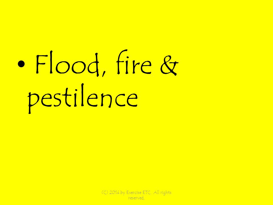 Flood, fire & pestilence (C) 2014 by Exercise ETC. All rights reserved,