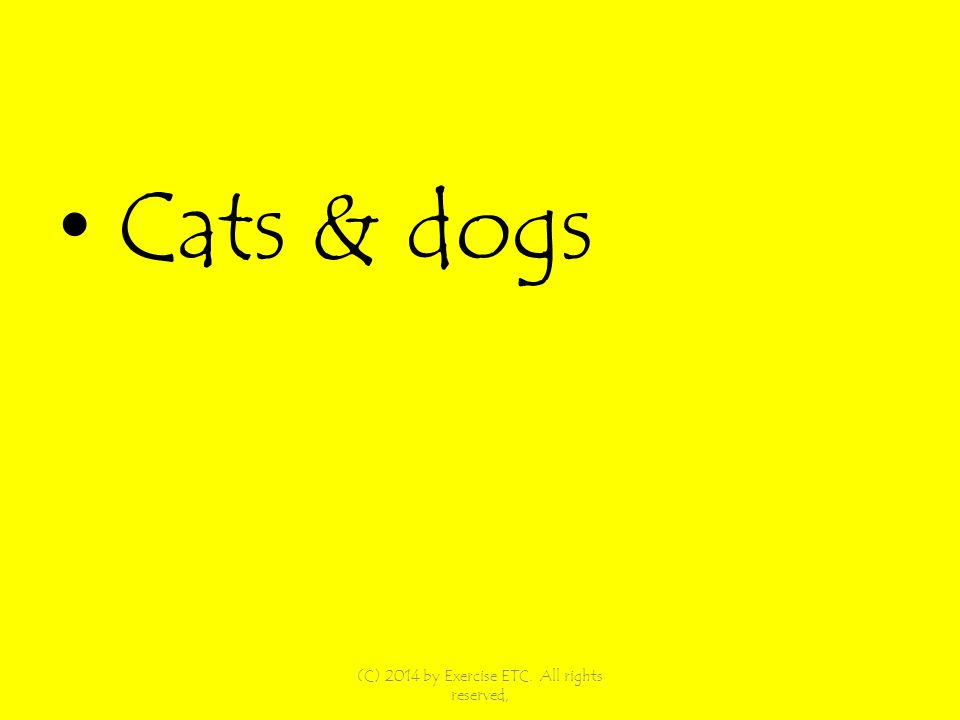 Cats & dogs (C) 2014 by Exercise ETC. All rights reserved,