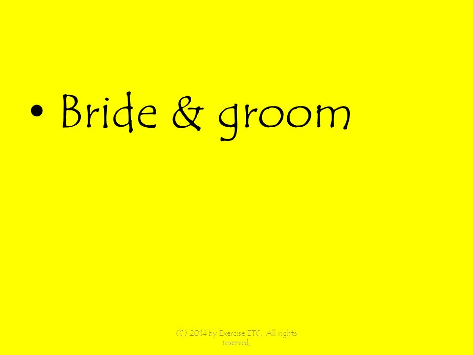 Bride & groom (C) 2014 by Exercise ETC. All rights reserved,