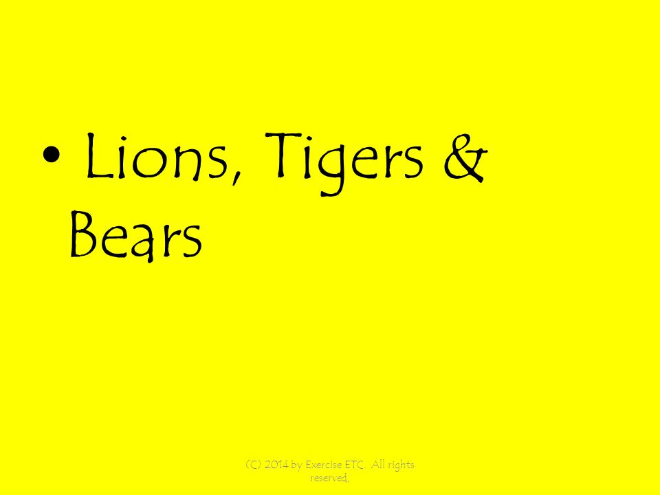 Lions, Tigers & Bears (C) 2014 by Exercise ETC. All rights reserved,