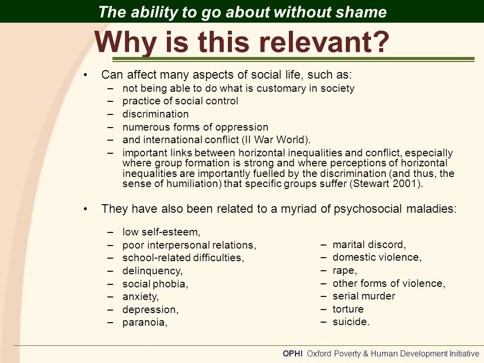 Relevant Experiences OPHI Oxford Poverty & Human Development Initiative The ability to go about without shame Psychology How to quantitatively measure shame has been a challenge for psychologists and psychiatrists for many years.