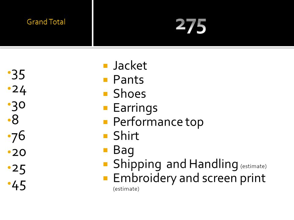 Grand Total Jacket Pants Shoes Earrings Performance top Shirt Bag Shipping and Handling (estimate) Embroidery and screen print (estimate)