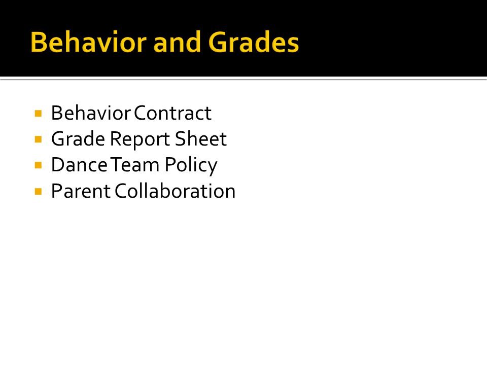 Behavior Contract Grade Report Sheet Dance Team Policy Parent Collaboration