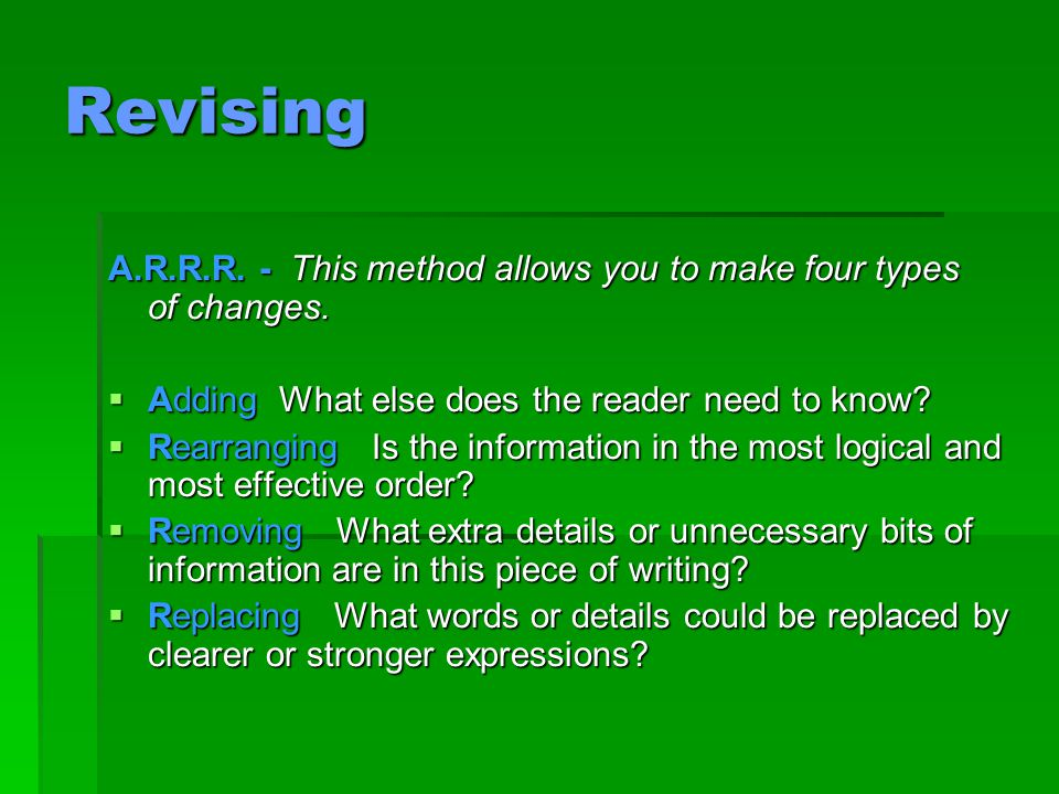 Keys to Effective Revision Pace yourself.