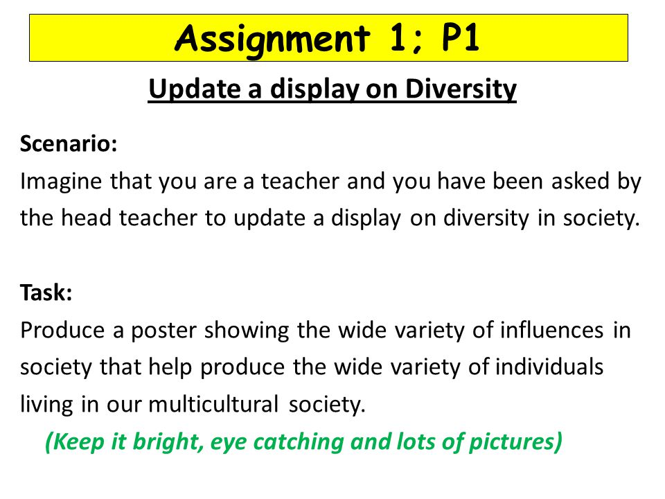 Assignment 1; P1 Update a display on Diversity Scenario: Imagine that you are a teacher and you have been asked by the head teacher to update a displa