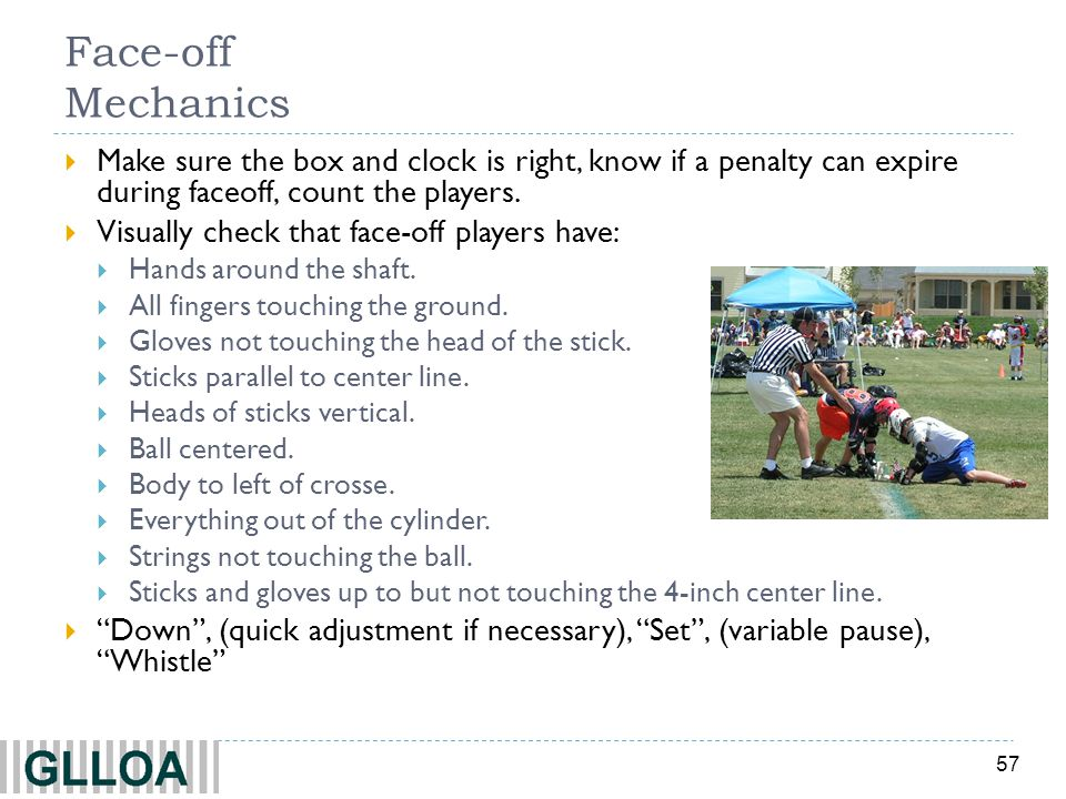 57 Face-off Mechanics Make sure the box and clock is right, know if a penalty can expire during faceoff, count the players.