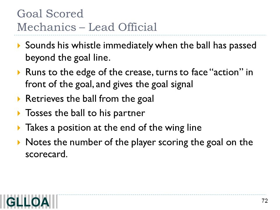 72 Goal Scored Mechanics – Lead Official Sounds his whistle immediately when the ball has passed beyond the goal line.