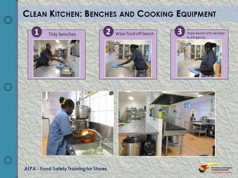ALPA - Food Safety Training for Stores C LEAN K ITCHEN : B ENCHES AND C OOKING E QUIPMENT Wipe bench with sanitizer to kill germs Wipe food off bench Tidy benches 1 23