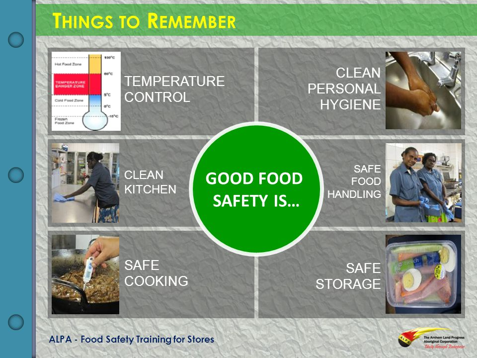 ALPA - Food Safety Training for Stores T HINGS TO R EMEMBER GOOD FOOD SAFETY IS… TEMPERATURE CONTROL CLEAN KITCHEN SAFE COOKING CLEAN PERSONAL HYGIENE SAFE FOOD HANDLING SAFE STORAGE
