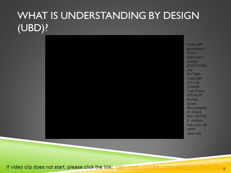 WHAT IS UNDERSTANDING BY DESIGN (UBD)? If video clip does not start, please click the link: http://www.youtube.com/watch?v=ClS3-8-QPqohttp://www.youtu