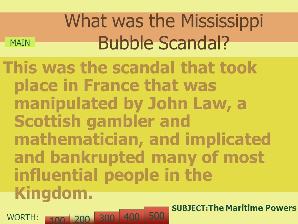 WORTH: What was the Mississippi Bubble Scandal.