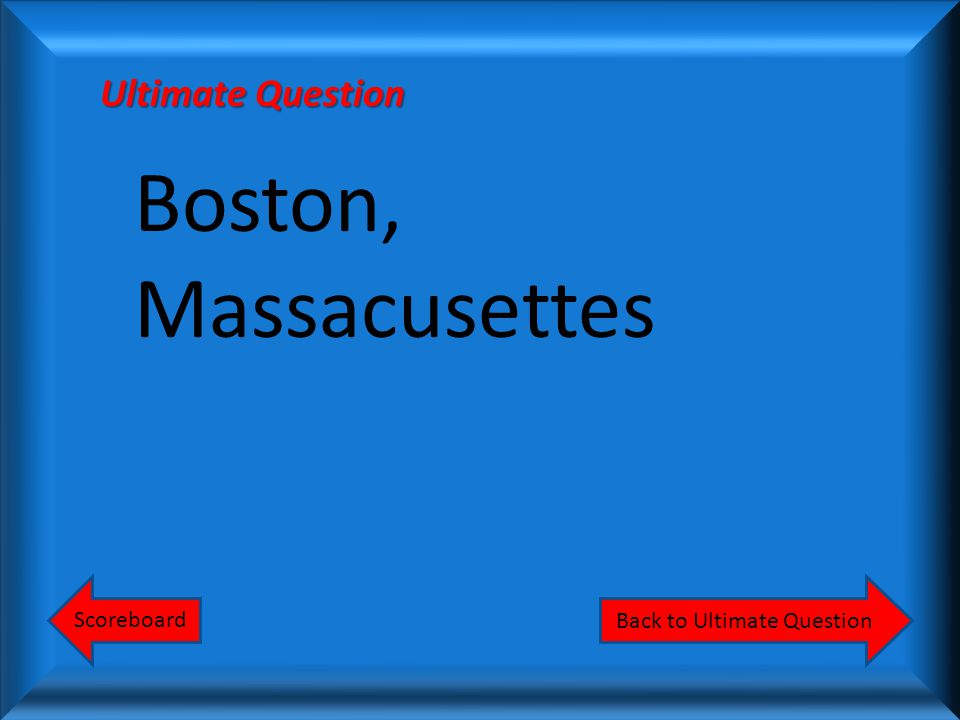 What city was the birthplace of the American Revolution Scoreboard Ultimate Question Answer