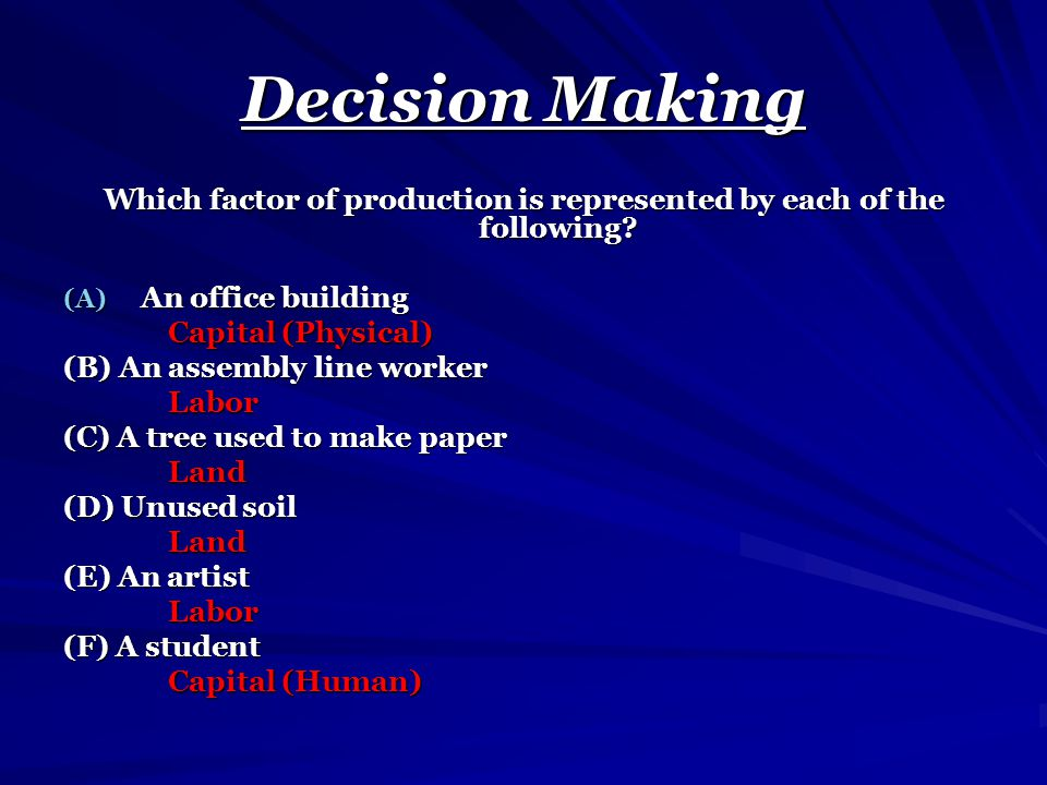 Decision Making Which factor of production is represented by each of the following? (A) An office building Capital (Physical) Capital (Physical) (B) A