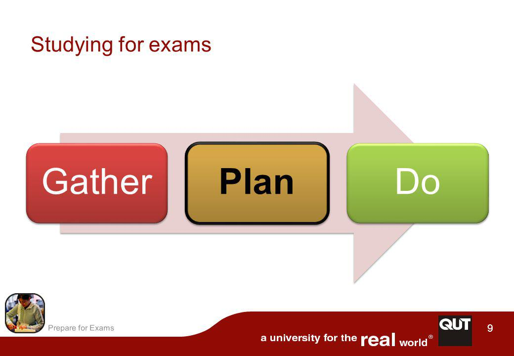 Prepare for Exams 10 Remember: –lecturers use the unit outline to write their assessment tasks Organise your materials –main topics from the unit outline sub-topics from lectures, tutorials, textbook, additional readings –map the structure of the course on a table or concept map.