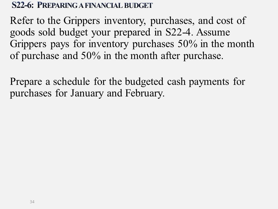 Refer to the Grippers inventory, purchases, and cost of goods sold budget your prepared in S22-4. Assume Grippers pays for inventory purchases 50% in