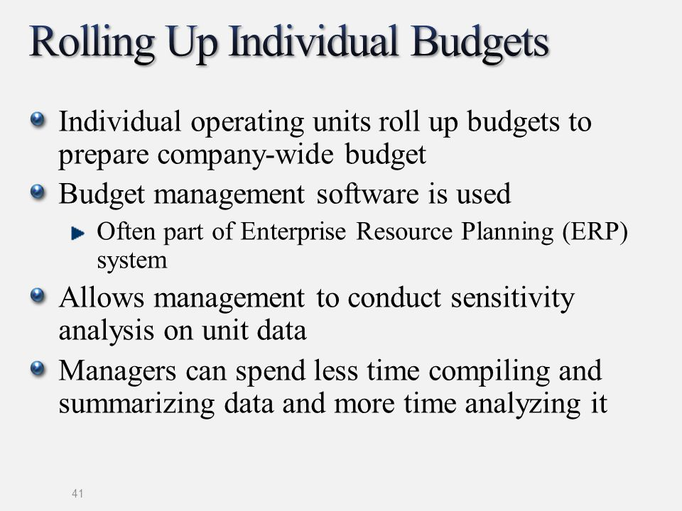 Individual operating units roll up budgets to prepare company-wide budget Budget management software is used Often part of Enterprise Resource Plannin