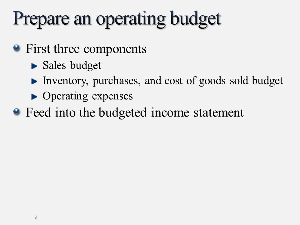 First three components Sales budget Inventory, purchases, and cost of goods sold budget Operating expenses Feed into the budgeted income statement 9