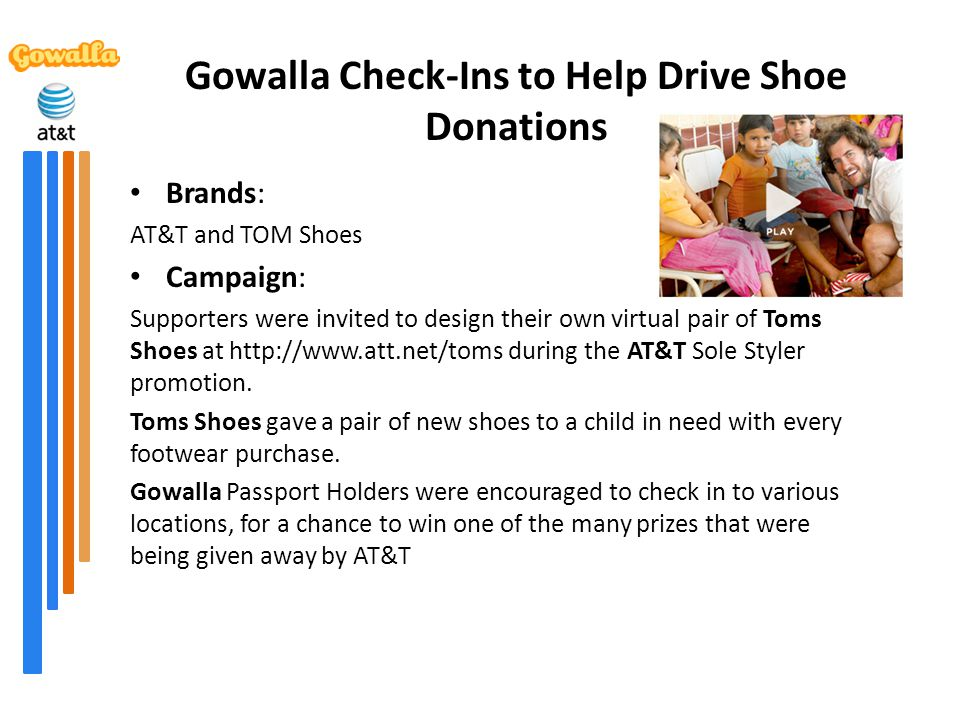 Gowalla Check-Ins to Help Drive Shoe Donations Brands: AT&T and TOM Shoes Campaign: Supporters were invited to design their own virtual pair of Toms S