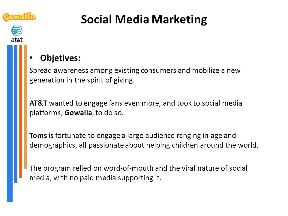 Social Media Marketing Objetives: Spread awareness among existing consumers and mobilize a new generation in the spirit of giving. AT&T wanted to enga